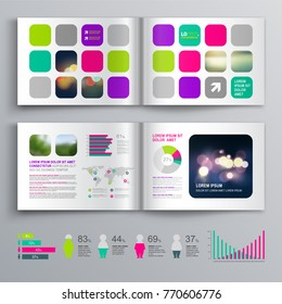 Colorful business brochure template design with color square shapes. Cover layout and info graphics