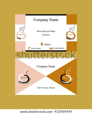 Colorful Business Card Coffee Cup Logo Stock Vector Royalty Free