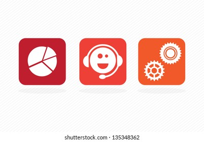 Colorful Business icons on white background, vector illustration