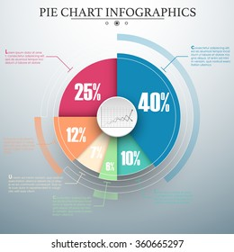 Colorful business pie chart for Your documents, reports, presentations and infographic. Material design