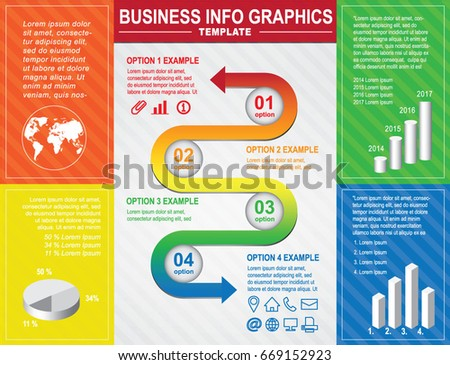 Colorful Business Poster Design Template Info Stock Vector (Royalty