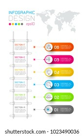 Colorful business rectangle labels shape infographic vertical bar with stairs step.
