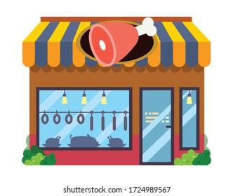 Colorful Butcher's shop. Flat style vector illustration.