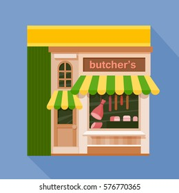 Colorful butcher's shop front view flat icon, vector illustration