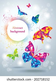 Colorful butterflies. Abstract background.