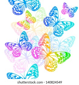 Colorful butterflies flying