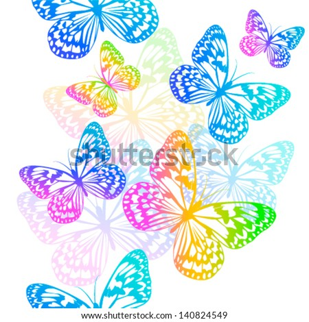 Colorful Butterflies Flying Stock Vector Royalty Free 140824549