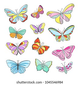 Colorful butterflies hand drawn vector set. Cute insects illustrations, flying butterflies and dragonflies