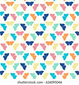 Colorful butterflies seamless pattern on ivory background. Butterflies background. Hand drawn vector illustration. All over print.