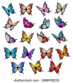 Colorful butterflies set. Vector illustration.