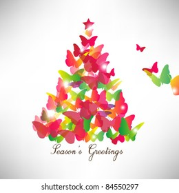 colorful butterfly christmas card