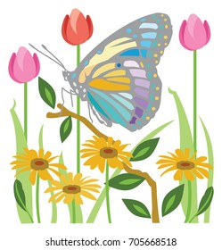 Colorful Butterfly in a garden of tulips and daisies