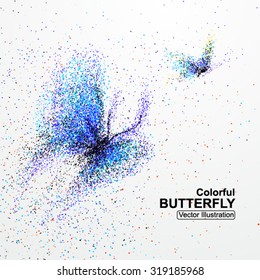 Colorful butterfly particles, vector illustration.