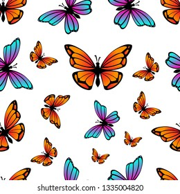 Colorful Butterfly seamless pattern isolated on white background vector illustration eps 10