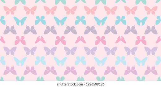 Colorful butterfly silhouette seamless pattern background, butterfly stripe horizontal pattern, pastel colors