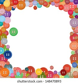 Colorful button frame, vector illustration