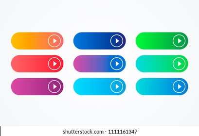Colorful button set on white background. Flat line gradient button collection. Vector web element