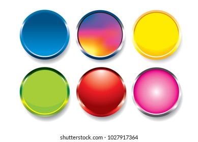 Colorful buttons set vector isolated on white background.