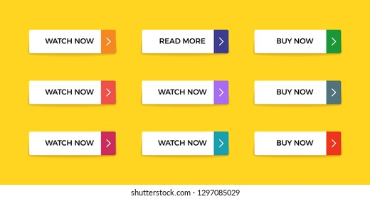 Colorful buttons. Web interface material button shape, bright mobile app submit. Vector action ui buttons on yellow background.