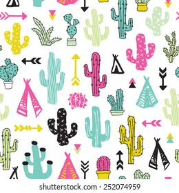 Colorful cacti indian summer teepee and arrow cactus illustration theme background pattern in vector