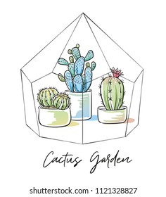 Colorful cactus plants in garden pottery in glass crystal terrarium with hand written font. Hand drawn doodle sketch vector illustration.