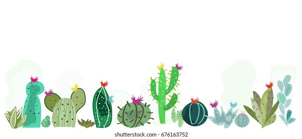 Colorful cactus and succulent summer time