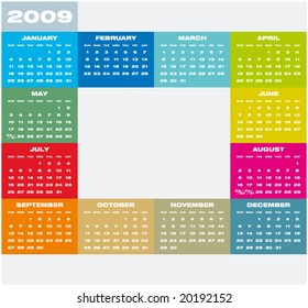 Colorful Calendar for 2009. with space for a picture in the center
