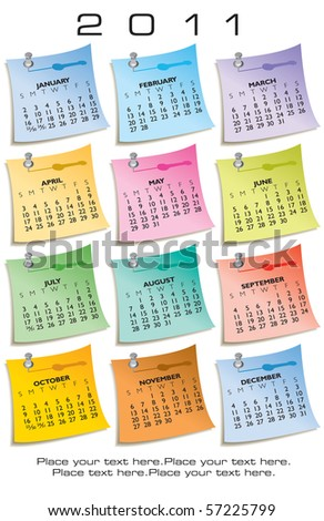 colorful calendar 2011 made sticky notes stock vector royalty free