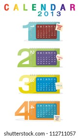 Colorful calendar 2013, january, february, march, april