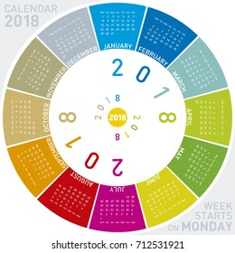 Colorful calendar for 2018. Circular design. Week starts on Monday