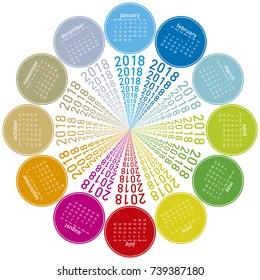 Colorful calendar for 2018. Circular design. Week starts on Sunday