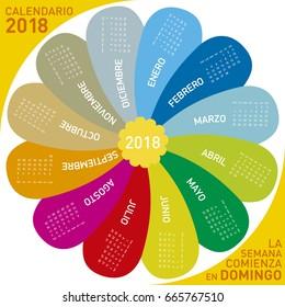 colorful calendar for 2018, flower design. Spanish Language, Week starts on Sunday.