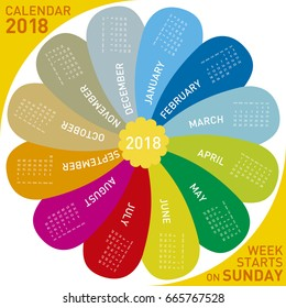 colorful calendar for 2018. flower design, each month in a petal. Week starts on Sunday