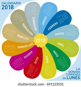 colorful calendar for 2018, flower design. Spanish Language, Week starts on Monday.
