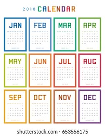Colorful calendar for 2018 years. Week starts from Sunday.