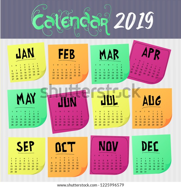 Colorful Calendar 2019 Colorful Labels Tags Stock Vector
