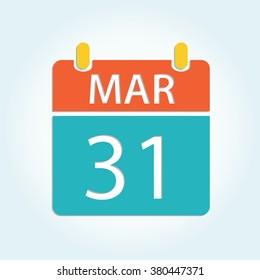 Colorful calendar icon - Mar 31