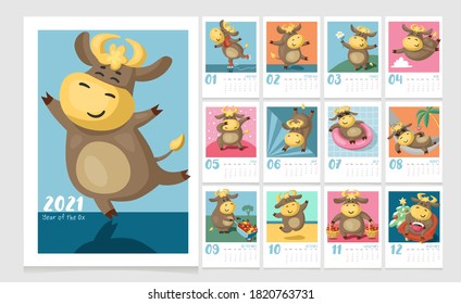 Colorful calendar for kids for 2021 Year of the Ox. Cute cartoon cows and bulls in different poses. Cover and 12 monthly pages. Week starts on Sunday.