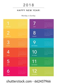 Colorful calendar Layout for 2018 years. Week starts from Monday.