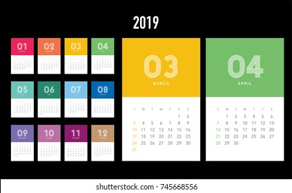 Colorful calendar Layout for 2019 years. Week starts from Sunday.