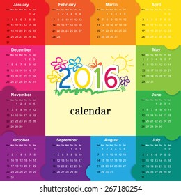 Colorful calendar for the new year 2016