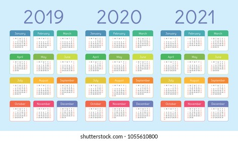 Colorful calendar set 2019, 2020 and 2021. Bright, funny and cute. Week starts on Sunday. Kids pocket calender template