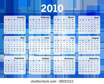 Colorful Calendar for year 2010