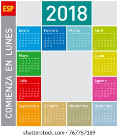 Colorful Calendar for Year 2011, in Spanish. Week starts on Monday