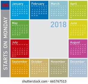 Colorful Calendar for Year 2018, in English. Week starts on Monday