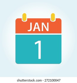 Colorful calender icon - Jan 1