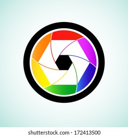 Colorful camera shutter lens, Vector illustration