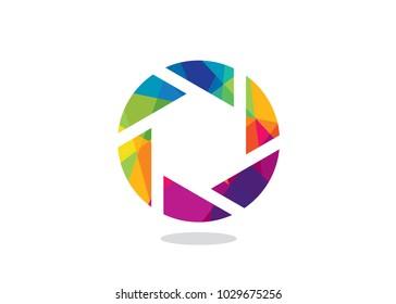 Colorful Camera Shutter Logo Design Template, Element Design, Vector Design