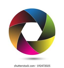Colorful camera shutter. Vector illustration