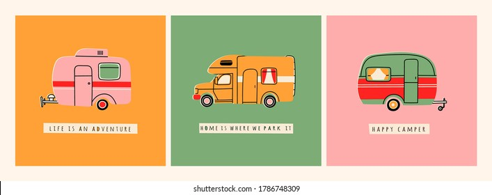 Colorful Camper RV. Road home Trailer. Recreational vehicle. Camping caravan car. Holiday trip concept. Mobile home for country and nature vacation. Set of three Hand drawn Vector illustrations